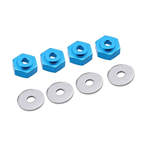LAFEINA 4PCS Aluminum Alloy 12mm Turn to 17mm Wheel Rim Hex Adapter for 1/10 Scale RC Car On Road Car Buggy Monster Bigfoot Truck Can Use 1/8 Tires (Silver)