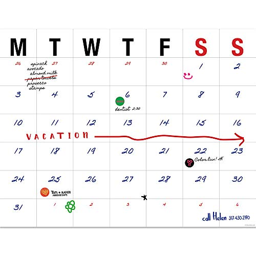 Large Typography Open Dated Desk Pad 22x17 Blotter Calendar: July 2018 - June 2019 (Academic Year)