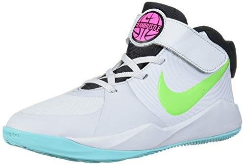 Nike Unisex Team Hustle D 9 Pre School Basketball Shoe, Pure Platinum/Electric Green, 3Y Regular US Little Kid