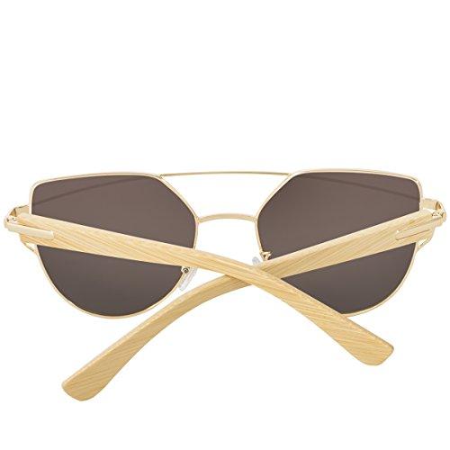 6450849f2447c WISH CLUB Cat Eye Wood Handmade Sunglasses for Women and Men with UV ...
