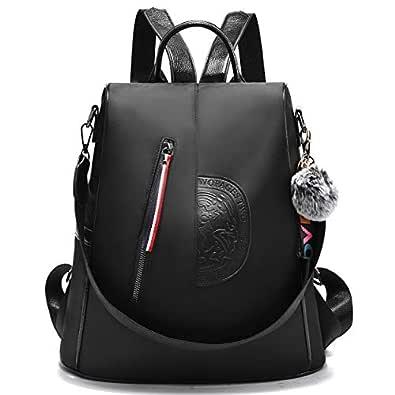 Women Nylon Backpack Purse waterproof Anti-theft Handbag Rucksack Lightweight Travel School Shoulder Bag (Black Large)