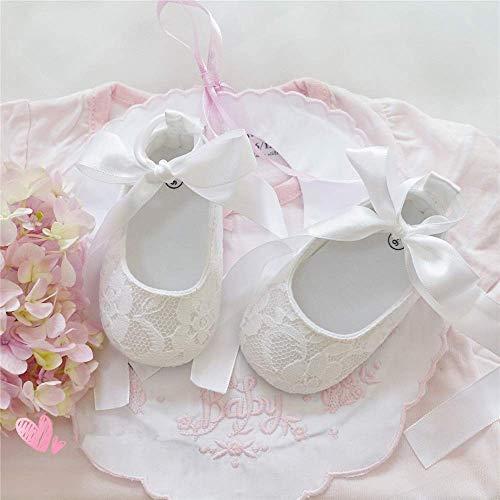 Handmade Elegant White Rear Strap Soft Sole Embroidery Princess Angel Baby Girls 1st Birthday Baptism First Walking -