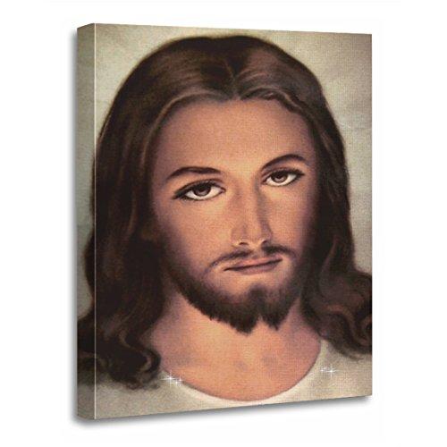 TORASS Canvas Wall Art Print Happy Jesus Face Portrait Light Bright God Faith Artwork for Home Decor 12