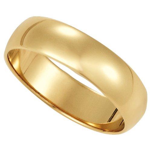 Gold Half Round Light (Womens 10K Yellow Gold, Light Half Round Wedding Band 5MM (sz 10))