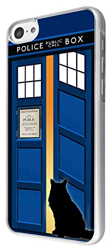 453 - Doctor Who Tardis Call Box Cat Open Door Design iphone 5C Coque Fashion Trend Case Coque Protection Cover plastique et métal
