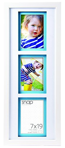 Snap 7x19 White Wood (3) 4x6 Opening Picture Frame with White Airfloat Mat