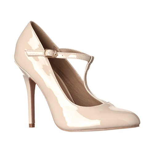 (Riverberry Women's Sadie Round Toe T-Strap High Heel Pumps, Nude Patent, 10)