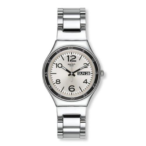 Swatch Unisex-Armbanduhr Classic Grey Shirt Analog Quarz Edelstahl YGS766G