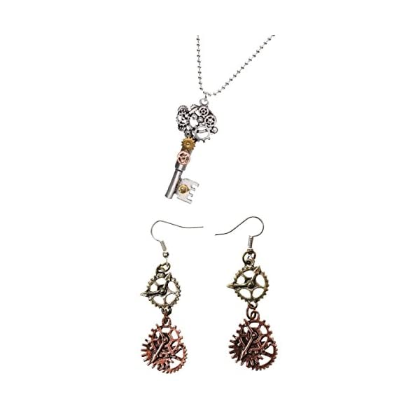 SM SunniMix Antique Style Key Gear Necklace with Chain and Steampunk Dangle Earrings 3