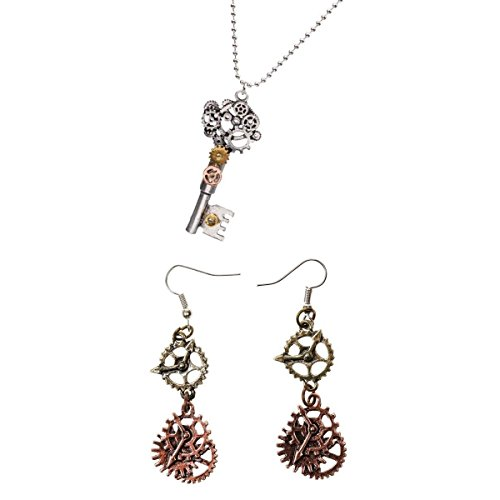 SM SunniMix Antique Style Key Gear Necklace with Chain and Steampunk Dangle Earrings