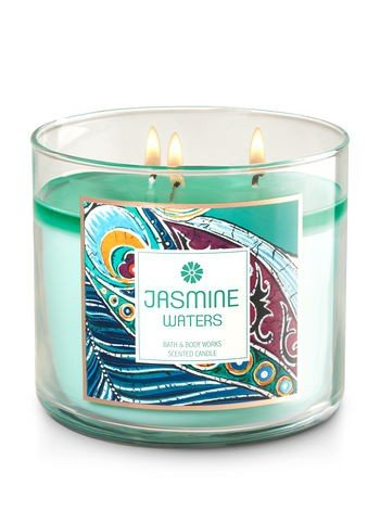 Bath and Body Works Jasmine Waters Scented 3 Wick Candle