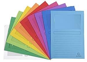 Exacompta 50000E - Lote de 50 Subcarpetas Forever® 120 con Ventana e Impresas, Colores Surtidos Vivos