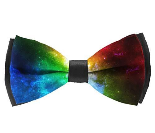 Pre-Tied Premium Bow Ties, Colorful Galaxy Neck Band Ties Casual And Formal School Uniform Banded Bow Ties For Adults & Children - Suit Accessories, Rave Party ()