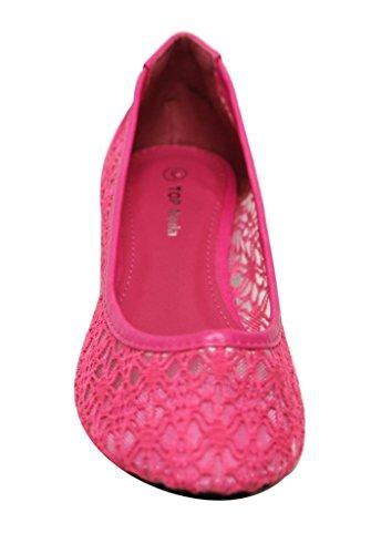 Top Moda Spot-3 Femmes Bout Rond Paisley Crochet Dentelle Ballet Slip Sur Chaussures Plates Fuchsia