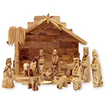 Olive Wood Miniature Set with Stable 12 pieces (Plain Roof Stable)