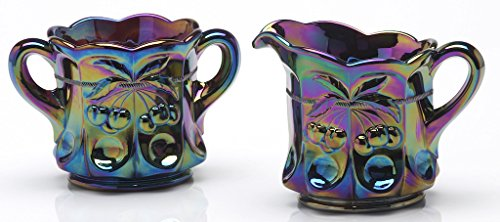 Creamer & Sugar - Cherry & Cable Pattern Mosser Glass US (Black Amethyst Carnival) (Pattern Glass Creamer)