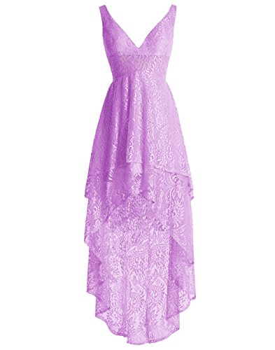 Lace Homecoming Hi Bridesmaid V Low Purple ALAGIRLS Neck Gown Full Dress YEnXq8nFw