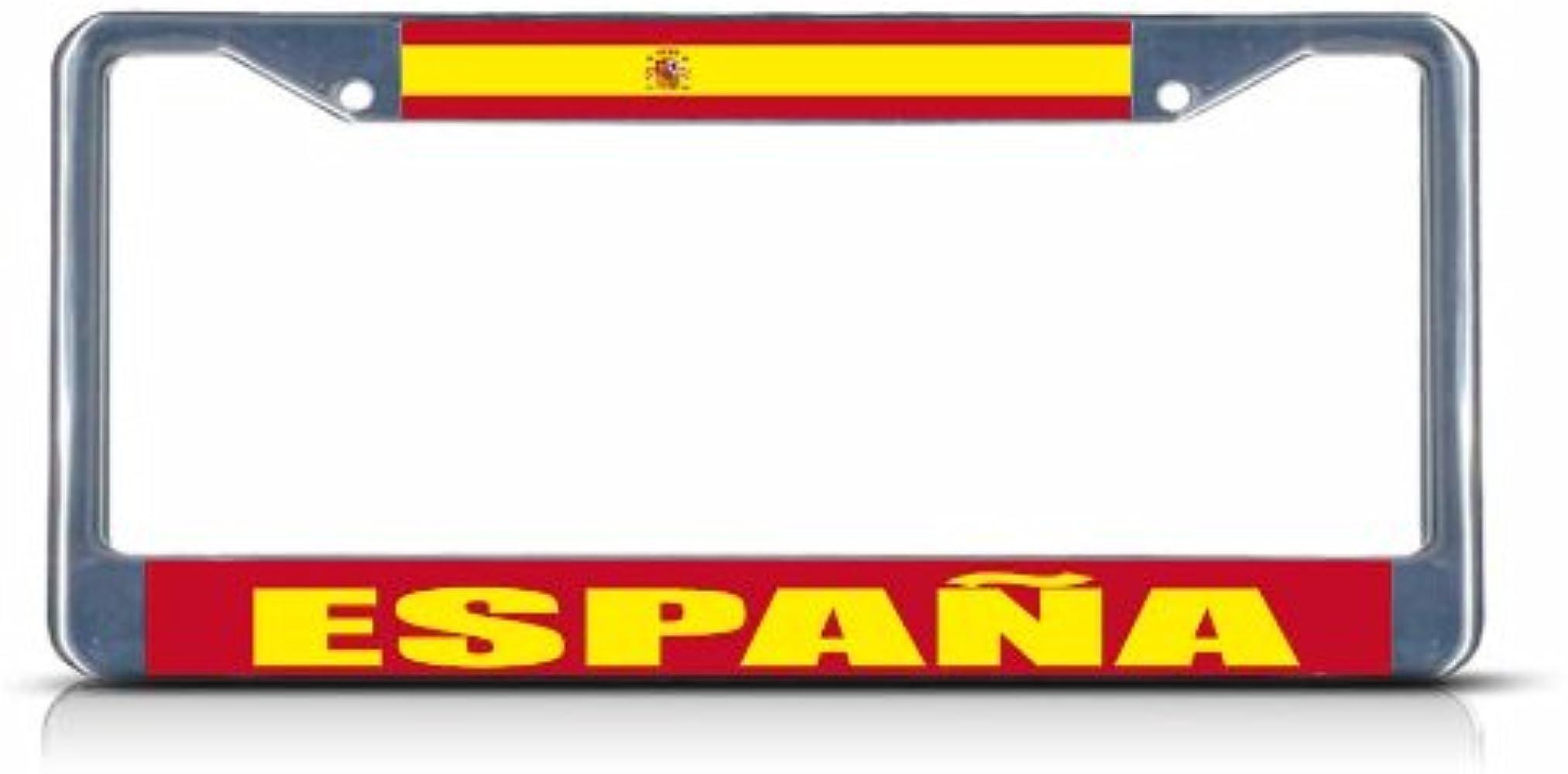 Espana bandera de España resistente de Metal Chrome License Plate Frame Tag frontera: Amazon.es: Ropa y accesorios