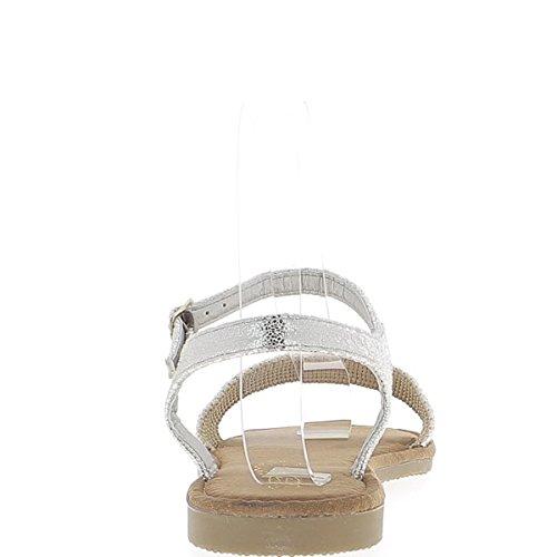ChaussMoi Sandales Plates Grises Argentées avec Large Bride Avant