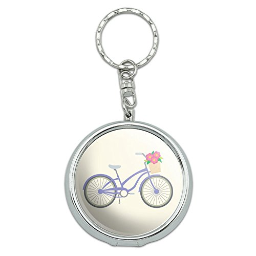 Graphics and More Portable Travel Size Pocket Purse Ashtray Keychain Sports and Hobbies - Bicycle Bike With Basket of Flowers