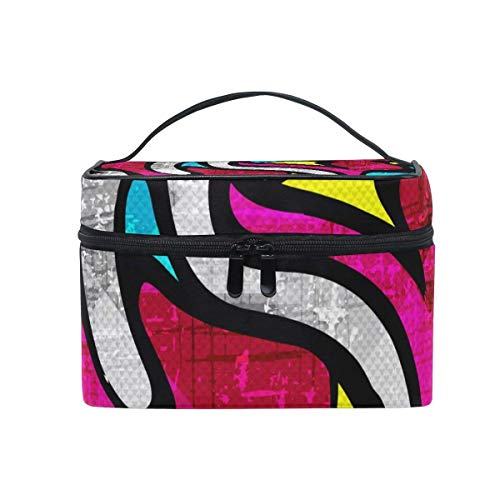 Abstract Graffiti Hip Hop Street Art Portable Cosmetic Toiletry Bags Large Makeup Travel Bags with Handle 9'' by All agree
