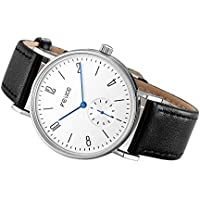 FEICE Men's Automatic Watch Mechanical Watch Minimalist Bauhaus Casual Watches for Men Analog Stainless Steel Leather Band Waterproof #FM201 (Black)