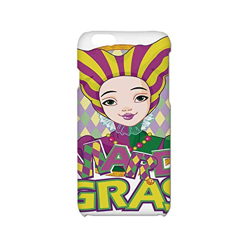 Mardi Gras Simple Phone Case,Carnival Girl in Harlequin Costume and Hat Cartoon Fat Tuesday Theme Compatible with iPhone 6/6s,iPhone 6,6s -