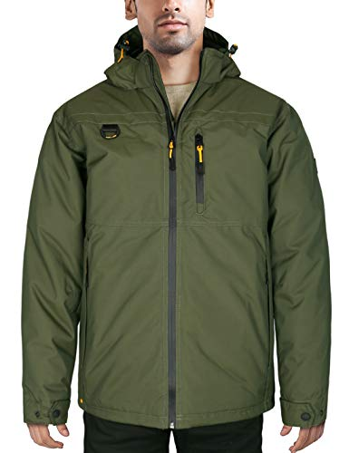 HARD LAND Men's Down Winter Coats Waterproof Ski Snow Mountain Jacket Outdoor Work Jacket Parka Removable Hood Od Green Size XXL (Best Outdoor Work Jacket)
