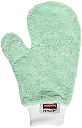 Rubbermaid Commercial Hygen Microfiber Dusting Mitt, 11-7/8-Inch Length X 9-7/8-Inch Width X 2-Inch Height, Green (FGQ65200GR00)