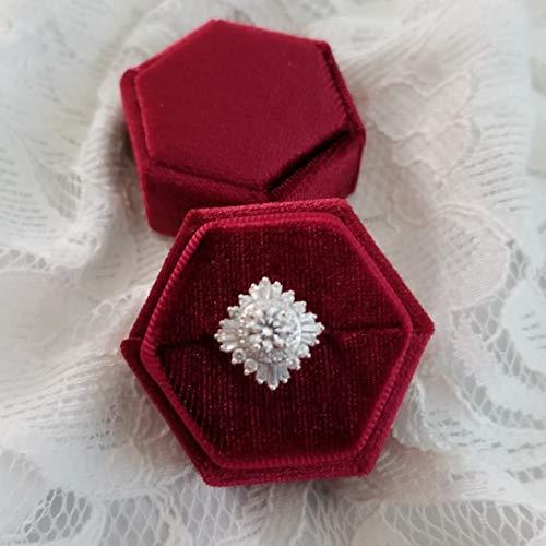 Merlot Box - LoveInBlooms Velvet Ring Box   Elegant Hexagon Shape, Engagement Ring Box, Bridal Photo Detail Props, Wedding Photography Styling Kit, Ring Bearer Gift, Vintage Heirloom Proposal Box (Merlot Red)