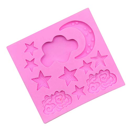 Gessppo Cake Mold-Moon Stars Pattern Silicone Mold Fondant Cake Decor Tool Chocolate Mold Mould (Chocolate Molds Moons And Stars)