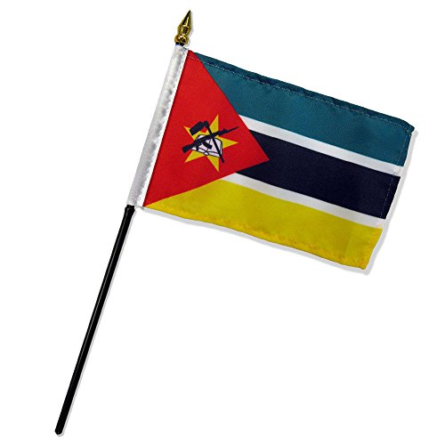 ALBATROS Mozambique 4 inch x 6 inch Flag with Stick for Desk, Table for Home and Parades, Official Party, All Weather Indoors ()