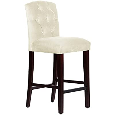 Skyline Furniture Tufted bar Stool in Regal Velvet Antique White