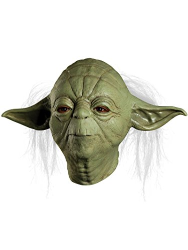 Star Wars Master Yoda Deluxe Adult Overhead Latex Mask, Green, One -