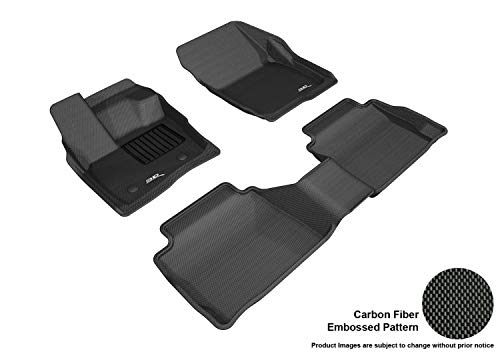 3D MAXpider Complete Set Custom Fit All-Weather Floor Mat for Select Ford Fusion Models - Kagu Rubber (Black)