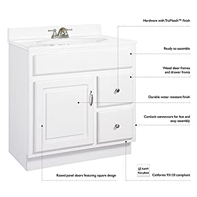 Design House 541052 Concord Ready-To-Assemble 2 Door/2 Drawer Vanity, White, 36-Inch by 21-Inch - Clean lines and concealed hinges Features a honey oak finish with Antique Brass hardware Frameless design provides ample storage and accessibility to store toiletries for the entire family - bathroom-vanities, bathroom-fixtures-hardware, bathroom - 41C80CeGg6L. SS400  -