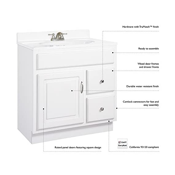 Design House 541052 Concord Ready-To-Assemble 2 Door/2 Drawer Vanity, White, 36-Inch by 21-Inch - Clean lines and concealed hinges Features a honey oak finish with Antique Brass hardware Frameless design provides ample storage and accessibility to store toiletries for the entire family - bathroom-vanities, bathroom-fixtures-hardware, bathroom - 41C80CeGg6L. SS570  -