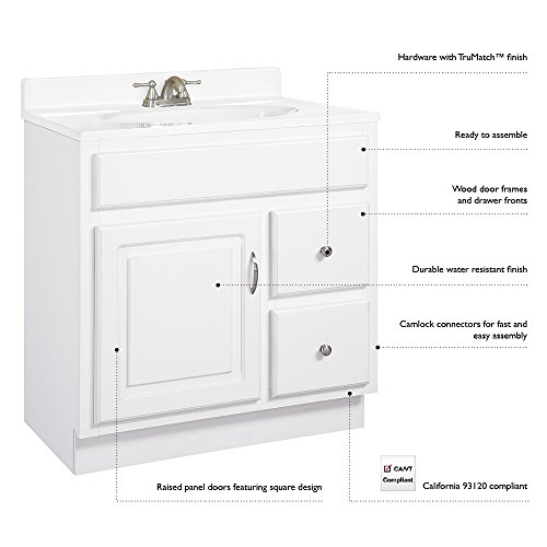 Design House 541037 Concord Ready-To-Assemble 1 Door/2 Drawer Vanity, White, 30-Inch by 21-Inch