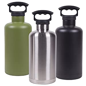 Fifty/Fifty Olive Vacuum-Insulated Stainless Steel Bottle with Wide Mouth - 64 oz. Capacity