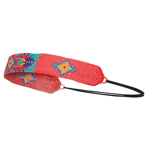 Tribal Beaded Elastic Headband - Red OSFM