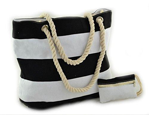 Strandtasche STREIFEN Marine-Strandtasche Shopper Badetasche Schultertasche Beach Bag (Schwarz)