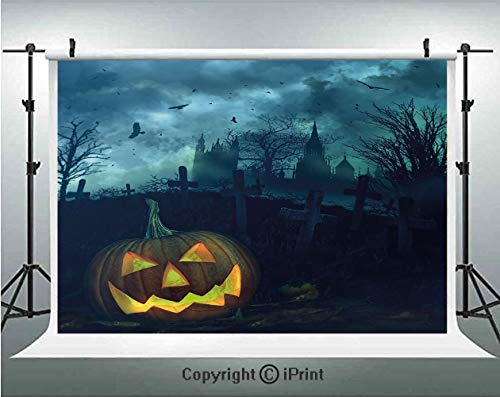 Halloween Photography Backdrops Halloween Pumpkin in Spooky Graveyard Eerie Gloomy Stormy Atmosphere,Birthday Party Background Customized Microfiber Photo Studio Props,7x5ft,Petrol Blue Yellow -