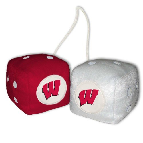 NCAA Wisconsin Badgers Football Team Fuzzy Dice, - Malls Wisconsin Shopping