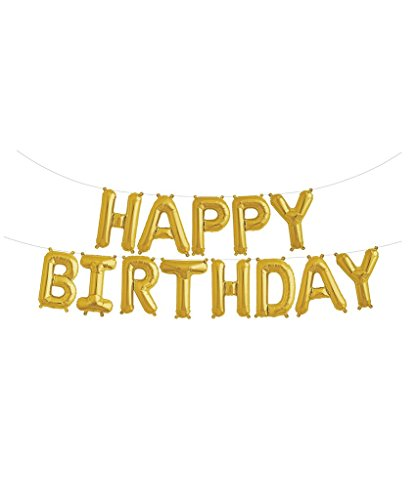 Gold Party Decorations - Happy Birthday Banner Gold - Birthday Decorations for Adults - Happy Birthday Balloon Banner - Mylar Gold Foil Letter Balloons - Balloons for Parties - No Helium