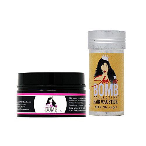 She Is Bomb Collection Edge Control 3.5 Oz. + Hair Wax Stick 2.7 Oz. SET
