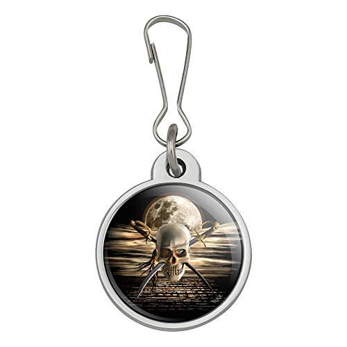 Pirate Skull Crossed Swords Cutlasses Ocean Moon Jacket Handbag Purse Luggage Backpack Zipper Pull Charm