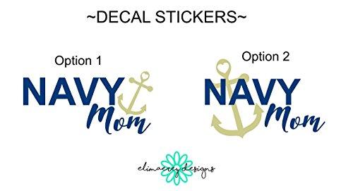 EliMaeRey Navy Mom Decal Sticker, car, laptop, tumbler, cups etc.