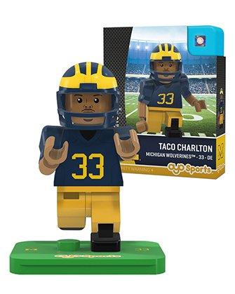 NCAA Michigan Wolverines Taco Charlton Generation 2 G2 Minifigure, Small, Black