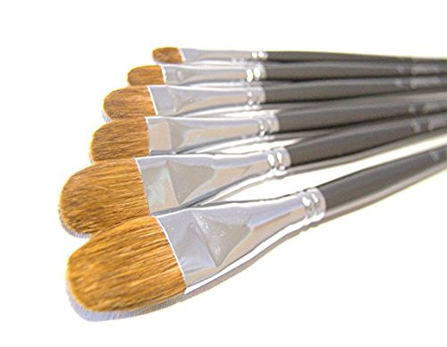Filbert Paint Brush Sets Red Sable Weasel Hair Best Brush for Canvas Painting Acrylic Paint Oil Paint Top Quality Art Supplies Long Handle Brushes (Sable Filbert)