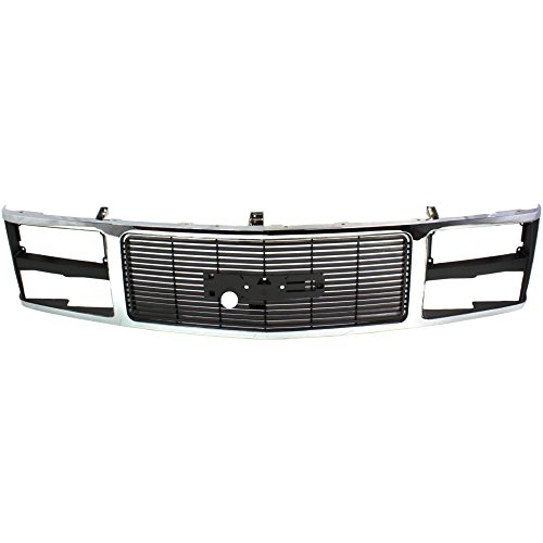 (Grille for GMC C/K Full Size Pickup 88-93 Chrome Shell/Painted-Black Insert W/Dual Headlight Holes)